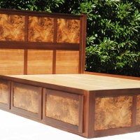 Bed with burled Panels