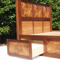Side Drawer of Bed with Burled Panels
